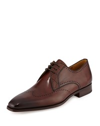 Magnanni For Neiman Marcus Perforated Leather Oxford Mid Brown