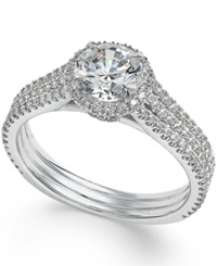 Macy's Certified Diamond Halo Engagement Ring 1 1 2 Ct. T.W. In 14K White Gold No Color
