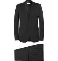 Saint Laurent Black Slim Fit Virgin Wool Gabardine Suit Black