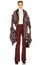 Burberry Prorsum Knit Blanket Cape In Brown Red Geometric Print Brown Red Geometric Print
