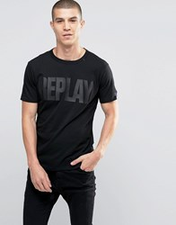 Replay Tonal Logo T Shirt In Black Black