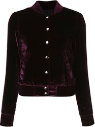 Theperfext Velvet Effect Cropped Jacket Pink And Purple