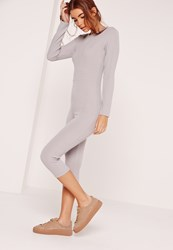 Missguided Ribbed Cropped Leg Jumpsuit Grey Grey