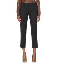 Dries Van Noten Paola Tapered Wool Trousers Navy