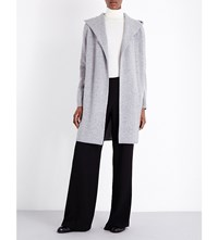 Theory Edoran Wool And Cashmere Blend Hooded Cardigan Heather Grey