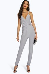 Boohoo Ebony Cross Back Jumpsuit Silver