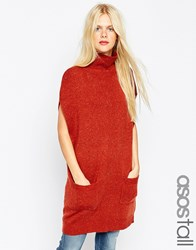 Asos Tall Tunic With High Neck In Knit Tobacco