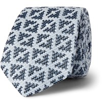 Marwood Diamond Patterned Silk And Cotton Blend Tie Blue