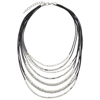 John Lewis Cord Metallic Tube Necklace Black Gunmetal