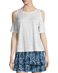 Derek Lam 10 Crosby Linen Cold Shoulder Tee Soft White Women's Size Medium