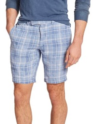 Polo Ralph Lauren Plaid Linen Shorts Blue Plaid
