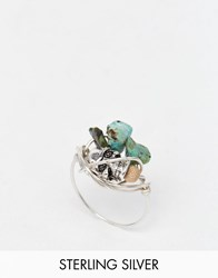 Katandbee Kat And Bee Wrapped Turquoise And Skull Ring Silver Turquoise