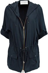 Amanda Wakeley Washed Silk Hooded Jacket Blue
