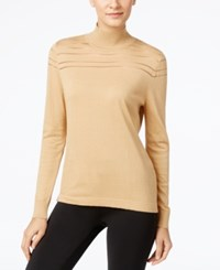August Silk Mock Neck Illusion Striped Sweater Ginger Snap