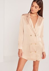 Missguided Silky Button Up Shirt Dress Nude Cream