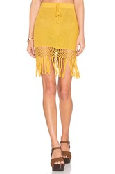 Minkpink Adore You Fringe Skirt Yellow