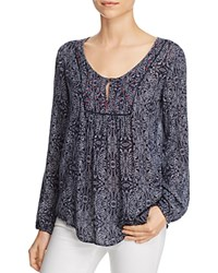 Velvet By Graham And Spencer Batik Printed Blouse Navy