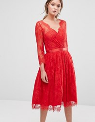 Chi Chi London Lace Overlay Dress Red