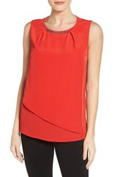 Chaus Women's Chain Neck Asymmterical Tiered Shell
