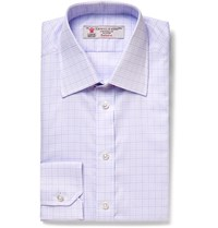 Turnbull And Asser Lilac Slim Fit Checked Cotton Shirt Purple
