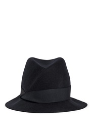 Armani Collezioni Swirl Crown Felted Wool Trilby Hat Blue