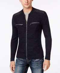 Inc International Concepts Men's Manchester Heathered Mixed Media Sweater Only At Macy's Basic Navy