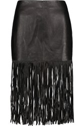 Maje Fringed Leather Skirt Black