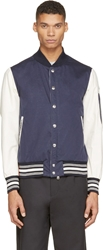 Moncler Navy And Ivory Contrast Sleeve Bomber Jacket