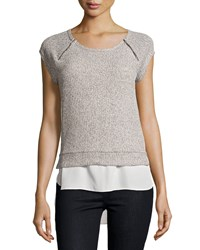 Casual Couture Short Sleeve Layered Tee Oatmeal Ivory