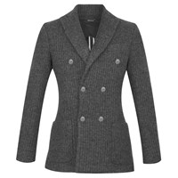 Diverso Double Breasted Wool Mix Blazer Grey Knit