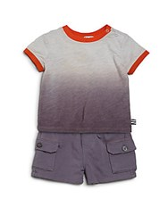 Splendid Baby's Two Piece Dip Dye Tee And Shorts Set Light Grey