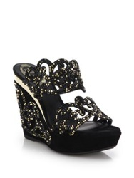 Rene Caovilla Crystal Embellished Suede Arabesque Wedge Sandals Black