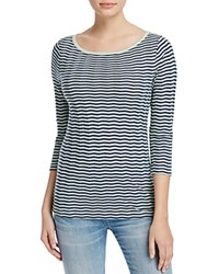Three Dots British Chevron Stripe Tee Night Iris Seamist