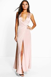 Boohoo Sally Cross Over Wrap Maxi Dress Mink