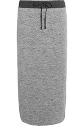 Dkny Ribbed Cotton Blend Midi Skirt Gray