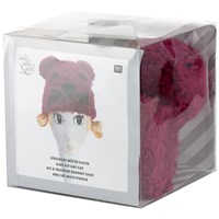 Rico Knitted Cat Hat Kit Berry