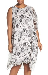 Vince Camuto Plus Size Women's Asymmetrical Overlay Floral Print Dress Rosewater