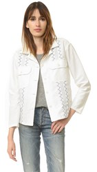 The Great Embroidered Army Shirt Jacket White