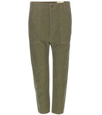 Citizens Of Humanity Sadi Cropped Cotton Trousers Green