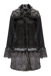 James Lakeland Faux Fur Sequin Coat Black