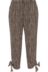 Hatch The Stroll Cropped Printed Crepe Pants Black