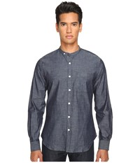 Todd Snyder Chambray Band Collar W Pocket Indigo Men's Long Sleeve Button Up Blue