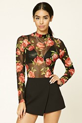 Forever 21 Semi Sheer Floral Bodysuit Black Red