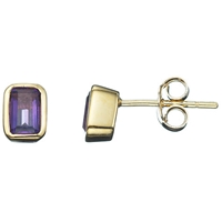 A B Davis 9Ct Yellow Gold Octagonal Gemstone Rubover Stud Earrings Amethyst