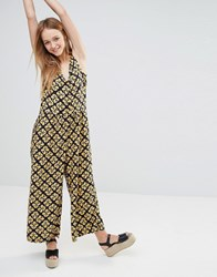 Monki 70S Printed Culotte Jumpsuit Black