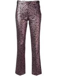 Giamba Metallic Straight Trousers Pink Purple