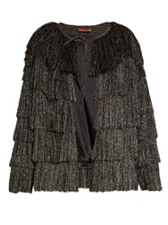 Missoni Collarless Tiered Fringe Jacket Black Multi