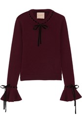 Roksanda Ilincic Heanor Velvet Trimmed Wool And Cashmere Blend Sweater Burgundy