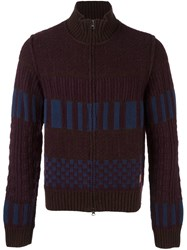 Al Duca D'aosta 1902 Colour Block Knitted Zip Cardigan Red