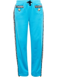Moschino Tracksuit Bottoms With Boucle Trim Blue